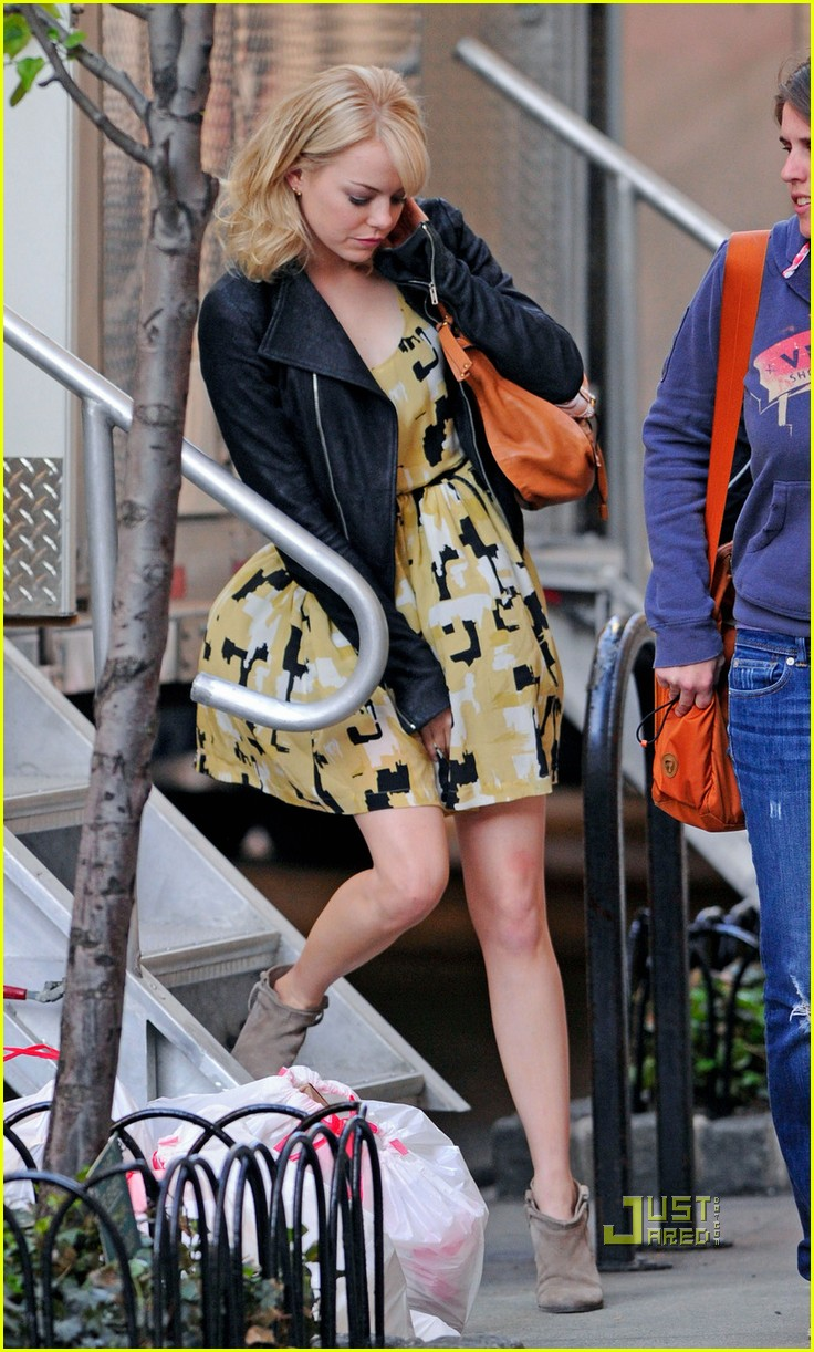 emma stone yellow dress amazing spider man set 03