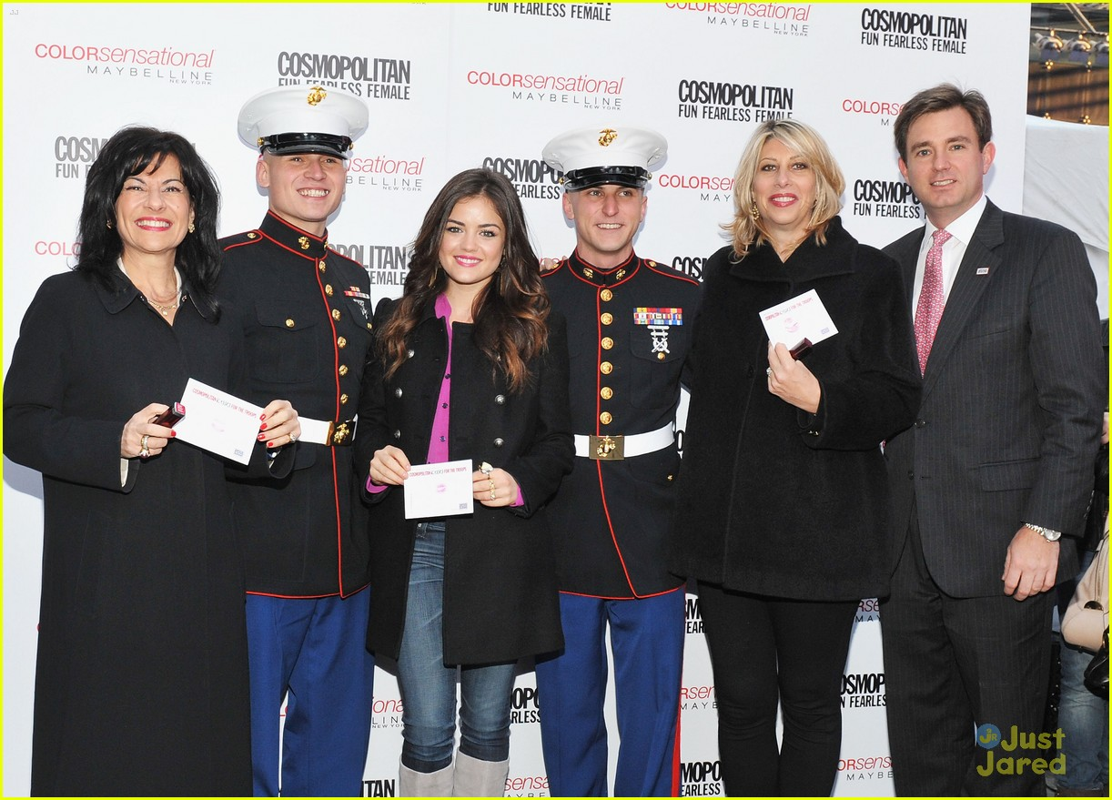 lucy hale cosmo kisses troops 21