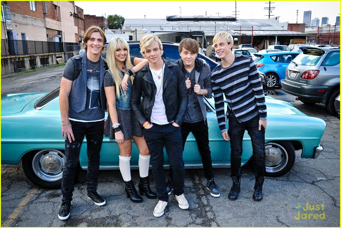 "R5 snaps a group pic while filming their new music video for ""Loud"" in"