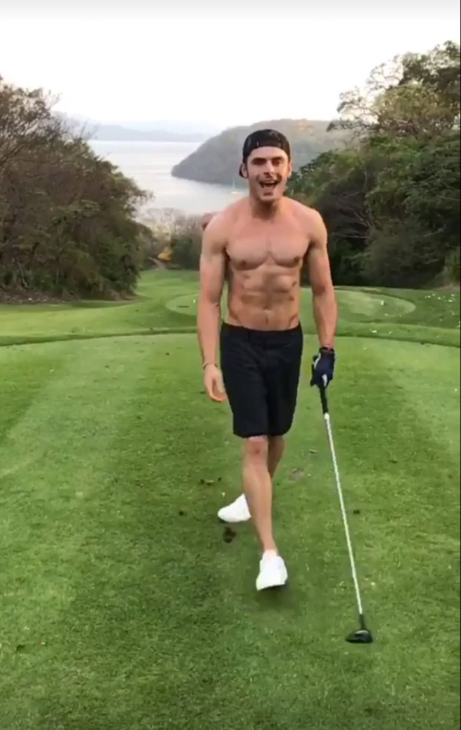 zac efron plays golf shirtless on vacation02