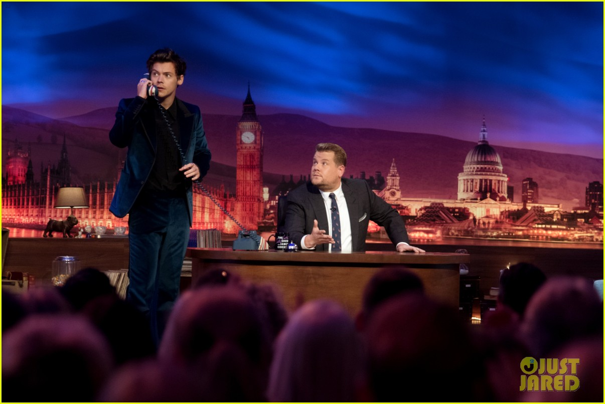 harry styles takes a surprise phone call on late late show01