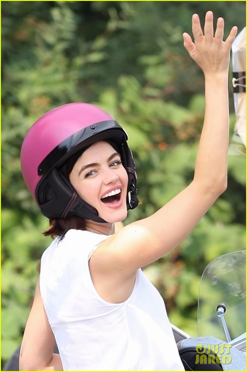 lucy hale rides a vespa and does some gardening on life sentence set 01