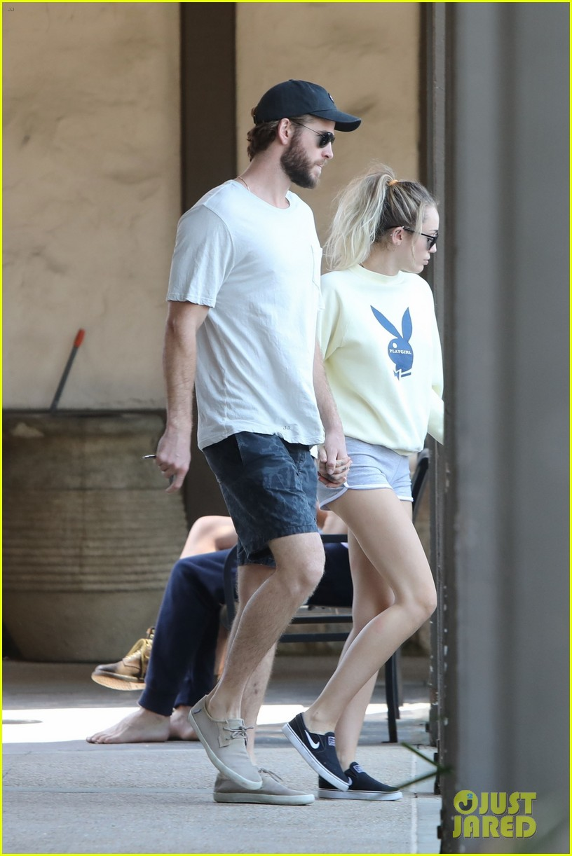 miley cyrus liam hemsworth hold hands for saturday morning date 03