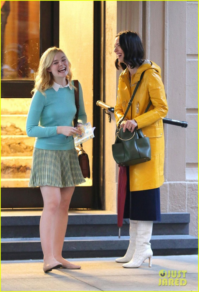 elle fanning shares a laugh on set of woody allen movie in nyc 01