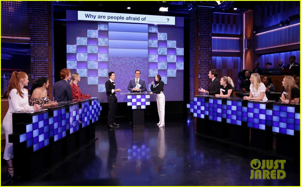 riverdale cast miley cyrus family face off in hilarious tonight show game show 01